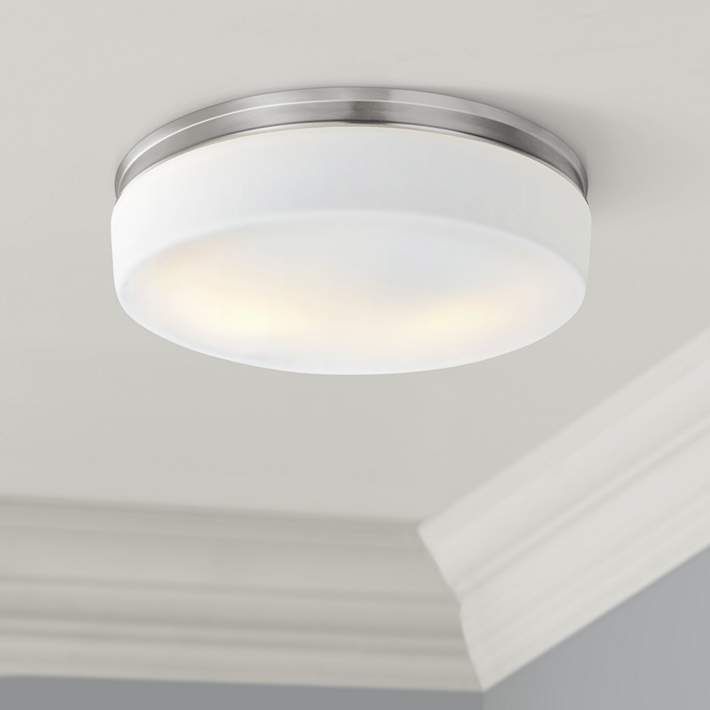 Feiss Issen 13 1 2 Wide 2 Light Satin Nickel Ceiling Light 18x69 Lamps Plus