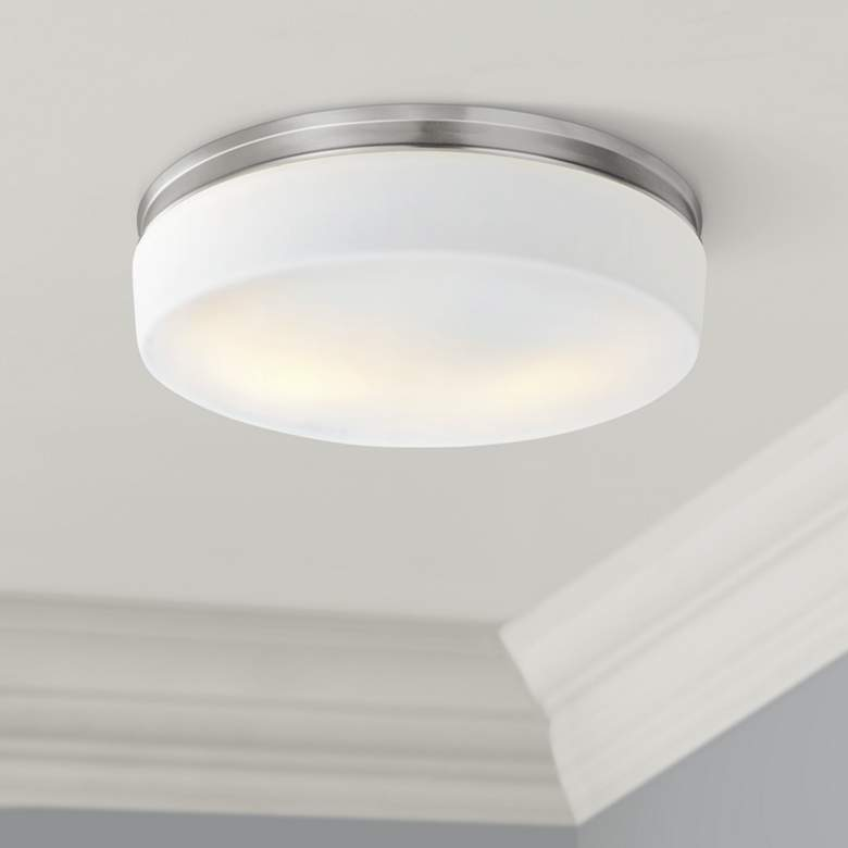 "Feiss Issen 13 1/2"" Wide 2-Light Satin Nickel Ceiling Light"