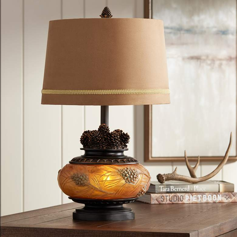 Pine Peak Amber Orb Etruscan Gold Pinecone Table