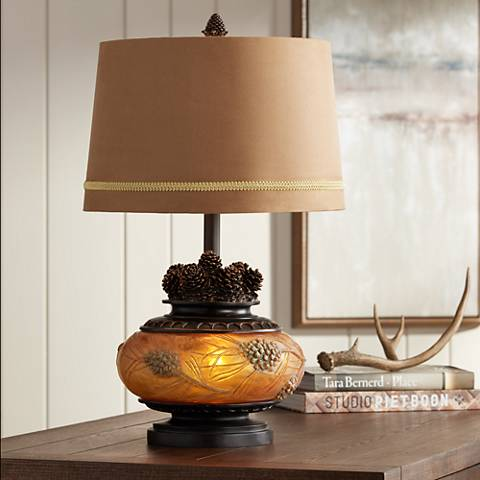 Pine Peak Amber Orb Etruscan Gold Pinecone Table Lamp