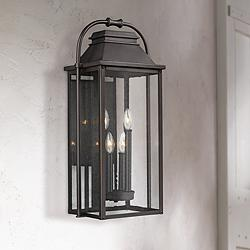 "Wellsworth 27""H Antique Bronze 4-Light Outdoor Wall Light"