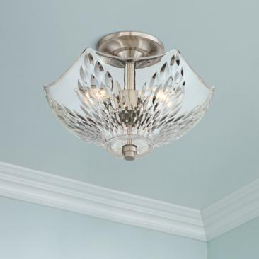 "Quoizel Westchester 13"" Wide Brushed Nickel Ceiling Light"