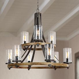 Feiss Angelo 32 3 4 Wide Weathered Oak 9 Light Chandelier
