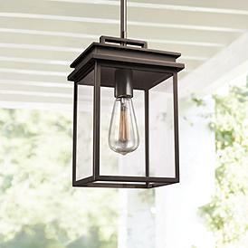 Feiss Chman 13 High Antique Bronze Outdoor Hanging Light
