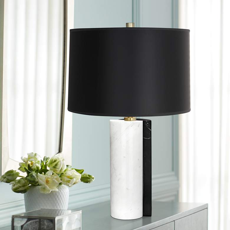 Jonathan Adler Canaan Black Dual-Marble Table Lamp