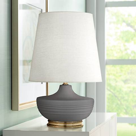 Michael Berman Nolan Brass and Ash Gray Ceramic Table Lamp