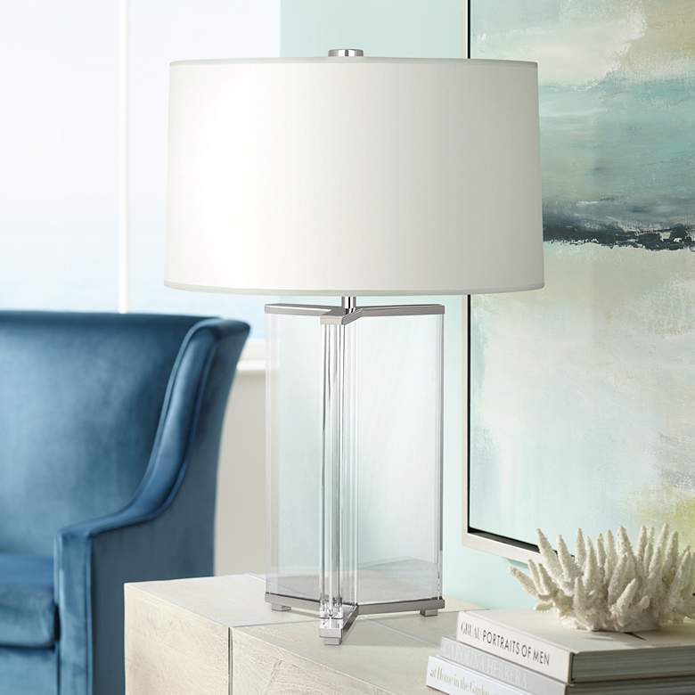 Fineas Nickel Crystal Table Lamp with Ascot White Shade