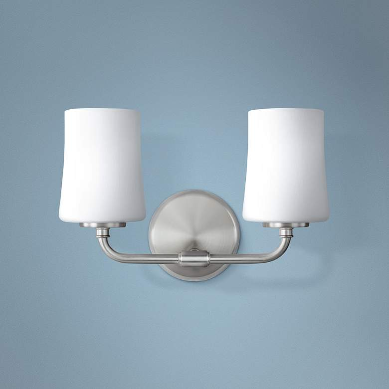 "Feiss Jennie 9"" High 2-Light Satin Nickel Wall"