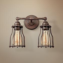 "Feiss Calgary 10 1/2""H 2-Light Parisian Bronze Wall Sconce"
