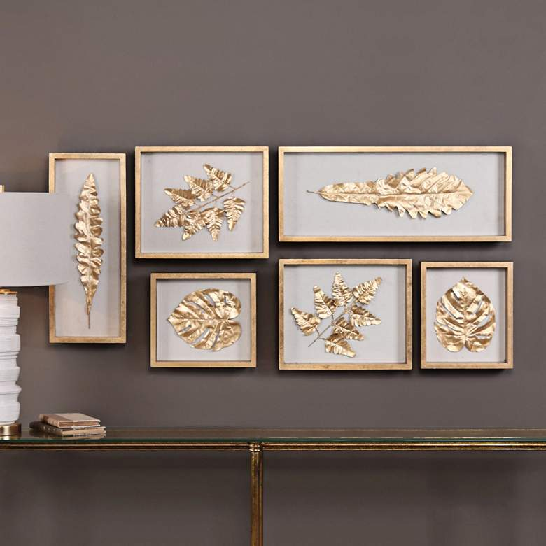 Golden Leaves 6-Piece Shadow Box Framed Wall Art