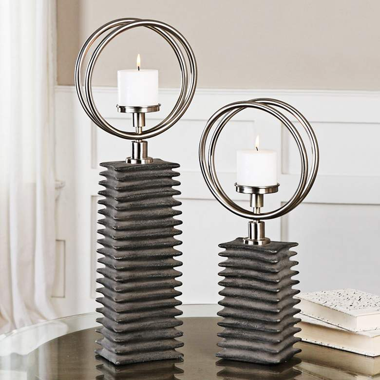 Eugenio Aged Black Ceramic 2-Piece Pillar Candle Holder