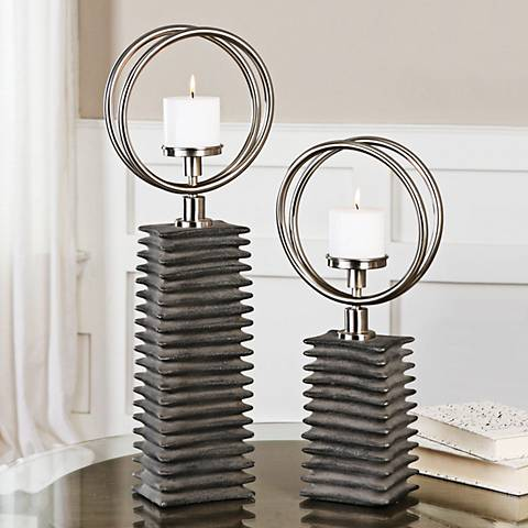 Eugenio Aged Black Ceramic 2-Piece Pillar Candle Holder Set