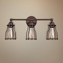 "Feiss Calgary 22"" Wide 3-Light Parisian Bronze Bath Light"