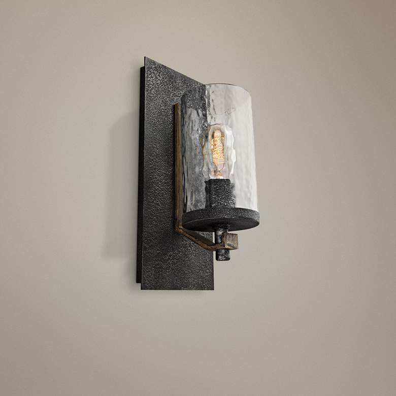 "Angelo 13""H Weathered Oak and Slated Gray Metal"