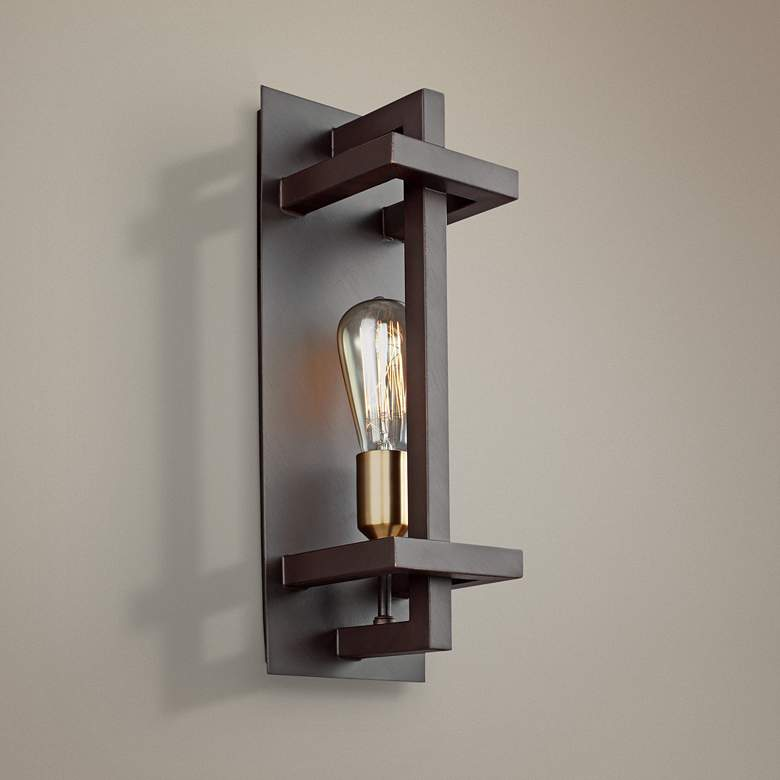 "Feiss Finnegan 17"" High New World Bronze Wall"