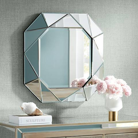 "Geometric 29"" x 29"" Angle Cut Glass Wall Mirror"