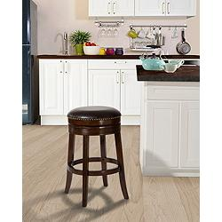 "Tillman 26"" Dark Brown Faux Leather Swivel Counter Stool"