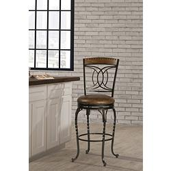 "Hillsdale Donovan 30"" Brown Faux Leather Swivel Barstool"