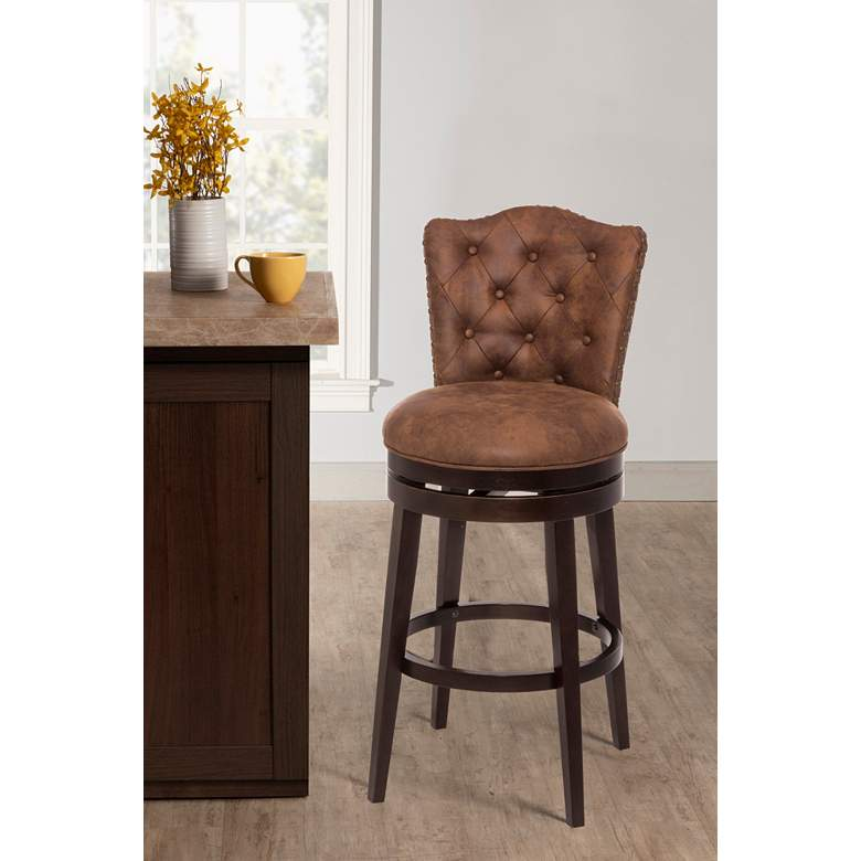 "Hillsdale Edenwood 30"" Chestnut Faux Leather Swivel Barstool"