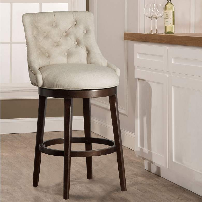 Remarkable Hillsdale Halbrooke 25 Cream Fabric Swivel Counter Stool Ncnpc Chair Design For Home Ncnpcorg