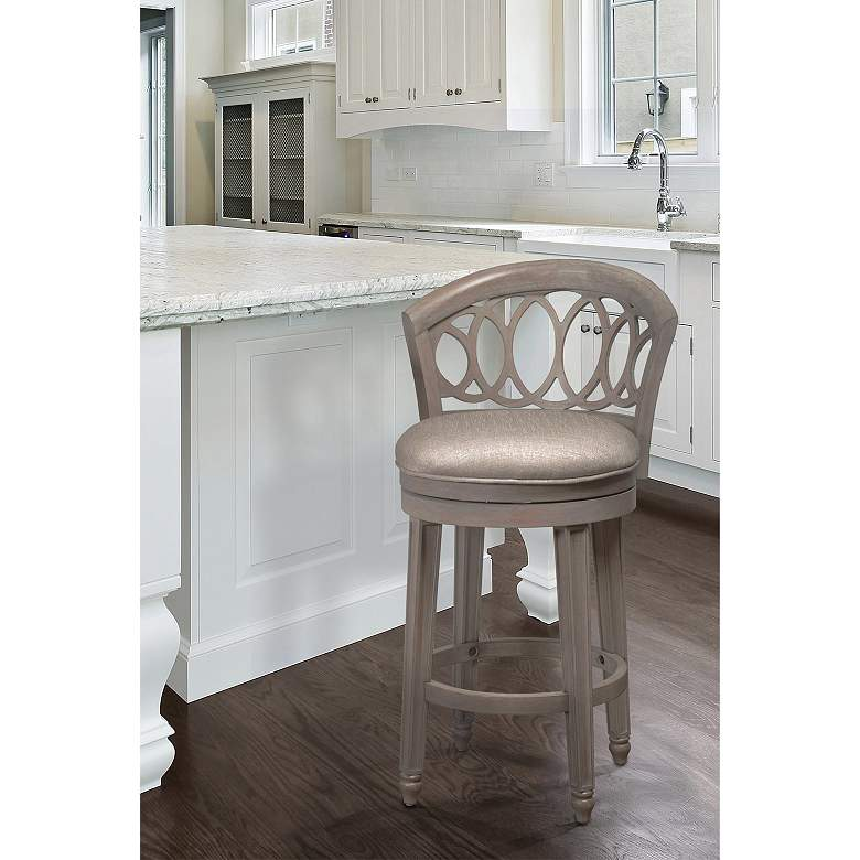 Hillsdale Adelyn Putty Fabric Swivel Barstool