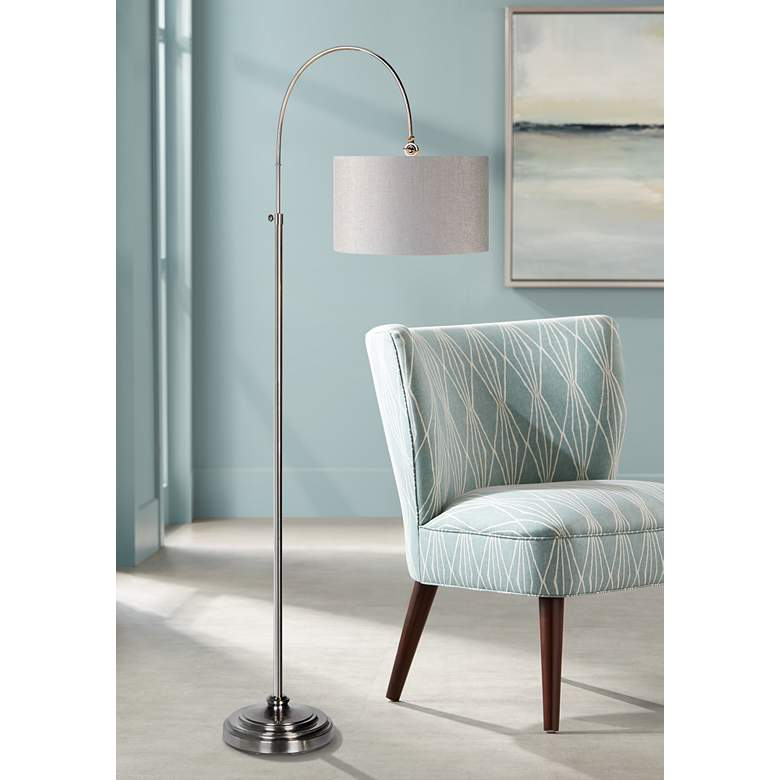 Porter Plated Pewter Adjustable Height Arc Floor Lamp