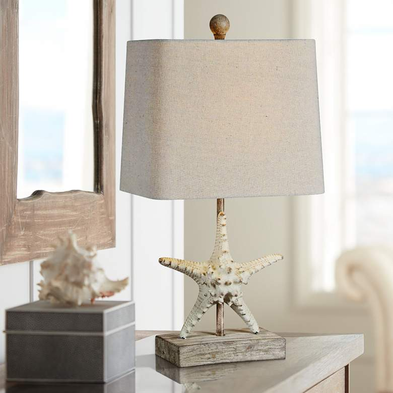 "Forty West Darla 19 1/2""H Coastal White Starfish Table Lamp"
