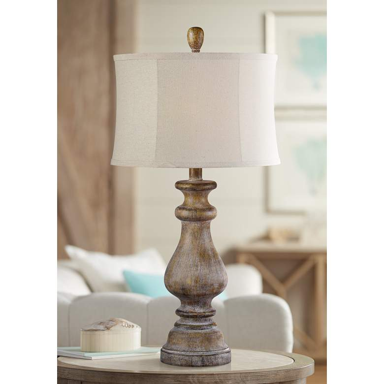 Forty West Luke Weathered Woodgrain Table Lamp