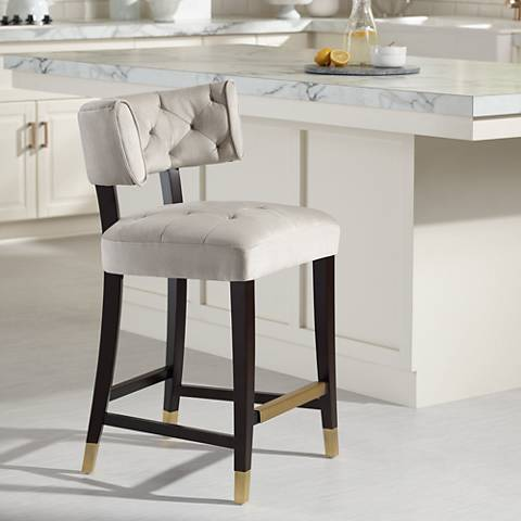 Tatum 26 Champagne White Tufted Counter Stool