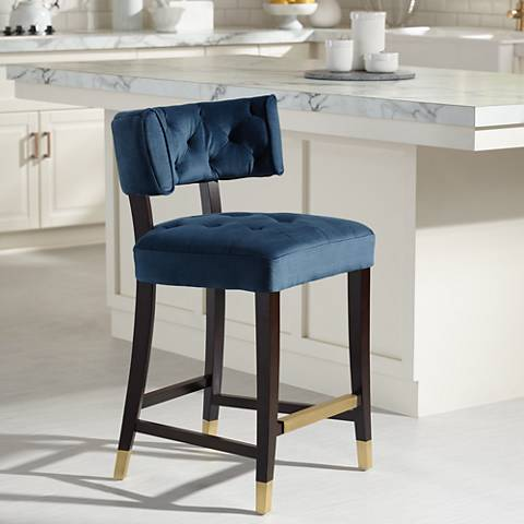 "Tatum 26"" Ink Blue Tufted Counter Stool"