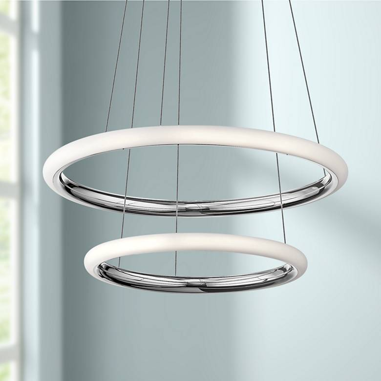 "Elan Dosh™ 28"" Wide Chrome 2-LED Pendant"