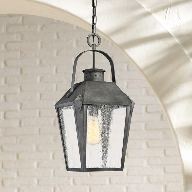 "Quoizel Carriage 21 1/4"" High Black Outdoor Hanging Light"