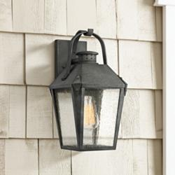 "Quoizel Carriage 15"" High Mottled Black Outdoor Wall Light"