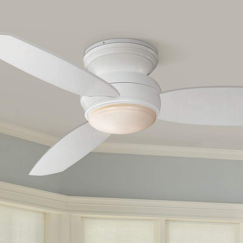 44 Quot Traditional Concept White Flushmount Led Ceiling Fan
