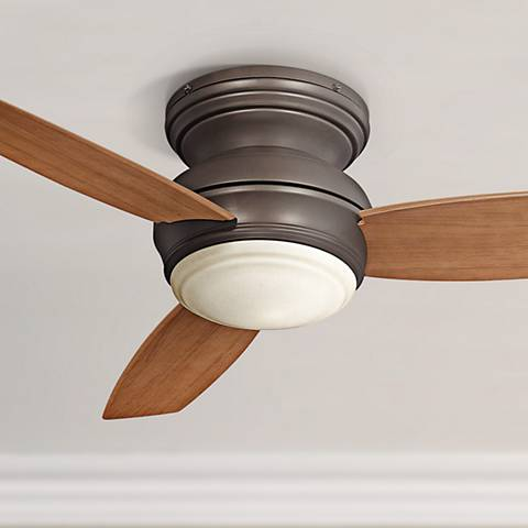 "44"" Traditional Concept Bronze Flushmount LED Ceiling Fan"