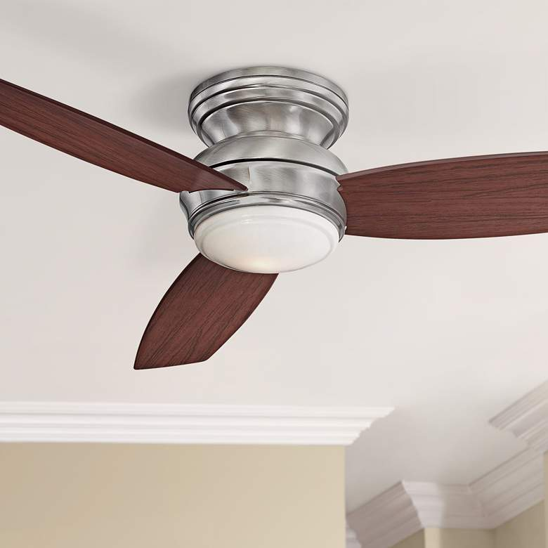 "52"" Traditional Concept Pewter Flushmount LED Ceiling Fan"