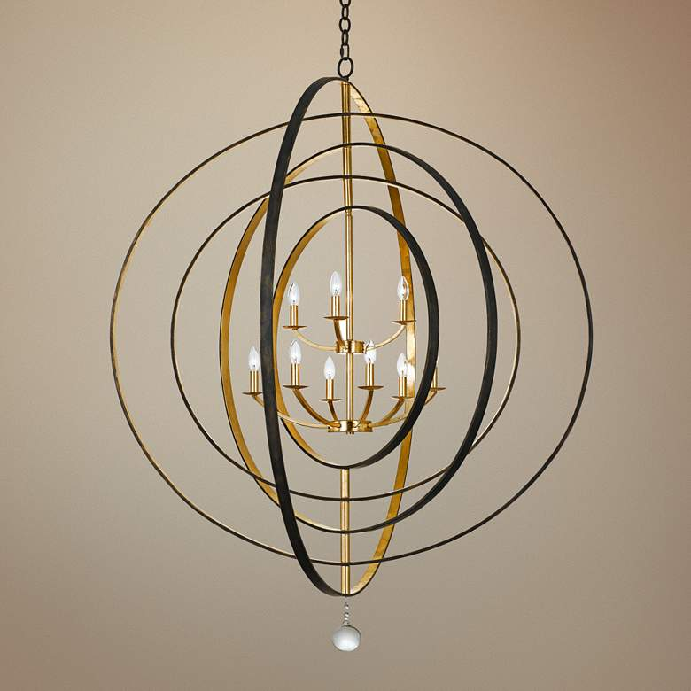 "Crystorama Luna 48"" Wide Bronze and Gold 9-Light"