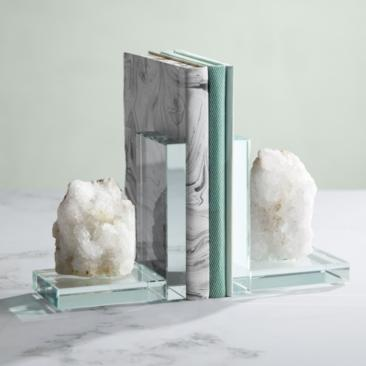 Artiqua White Geode and Glass Bookends