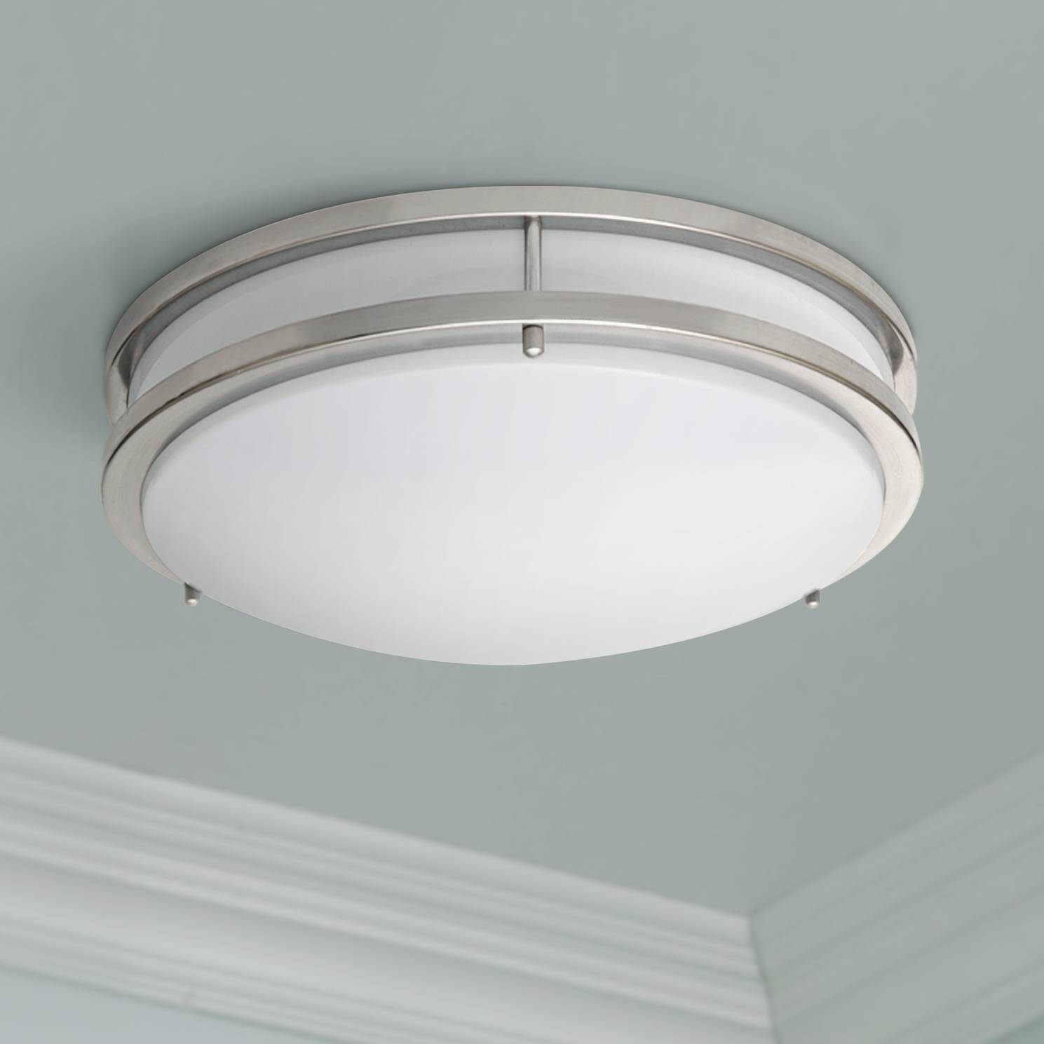 Zare brushed nickel 14 wide flushmount led ceiling light