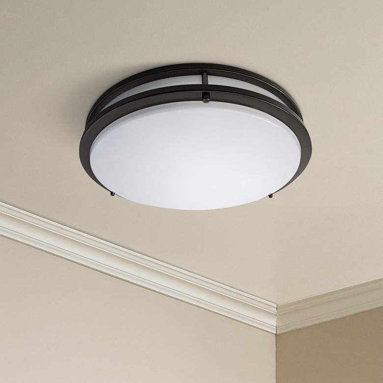 "Zare Bronze 14"" Wide Flushmount LED Ceiling Light"