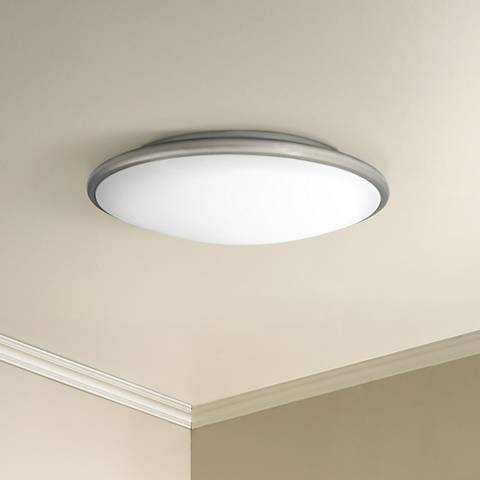 Partia flushmount 17 wide nickel led ceiling light