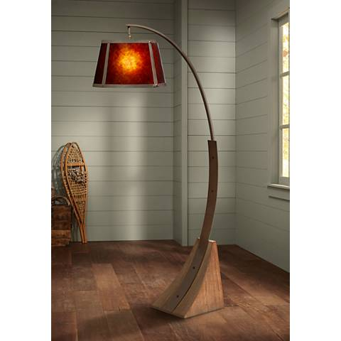 Oak River Arc Mica Shade Dark Rust Floor Lamp