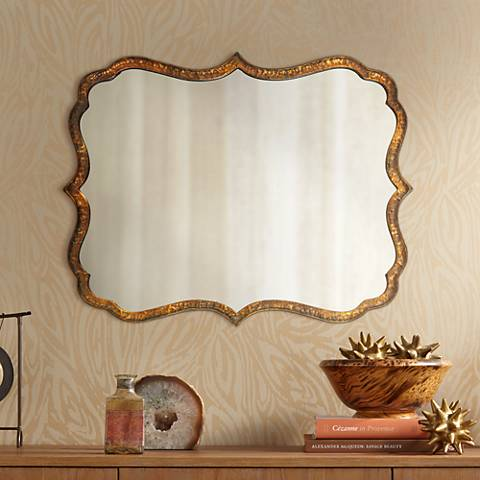 "Uttermost Spadola 30"" High Hammered Copper Wall Mirror"