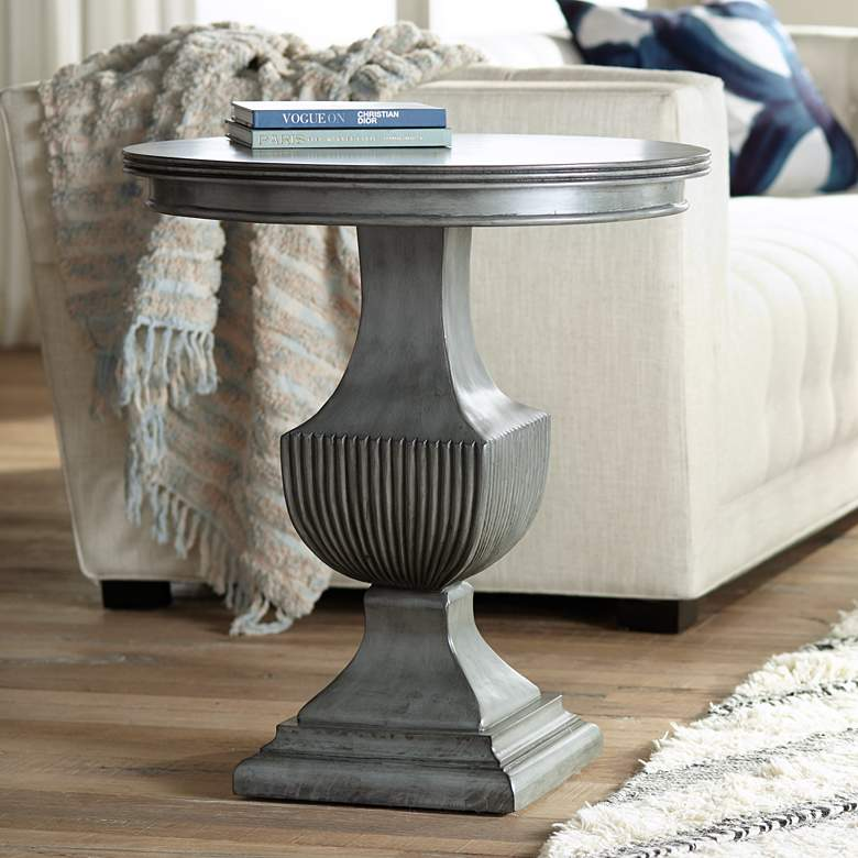 "Braham 26"" Wide Magnet Burnished Gray Round Accent Table"