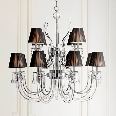 "Derry Street 12-Light Chrome 40"" Wide Crystal Chandelier"