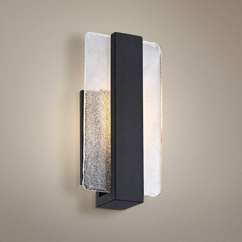"Cascadia Piastra Glass 11 3/4"" High Black LED Wall Sconce"