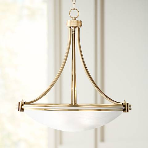 "Possini Euro Deco 21 1/2"" Wide Warm Brass Pendant Light"