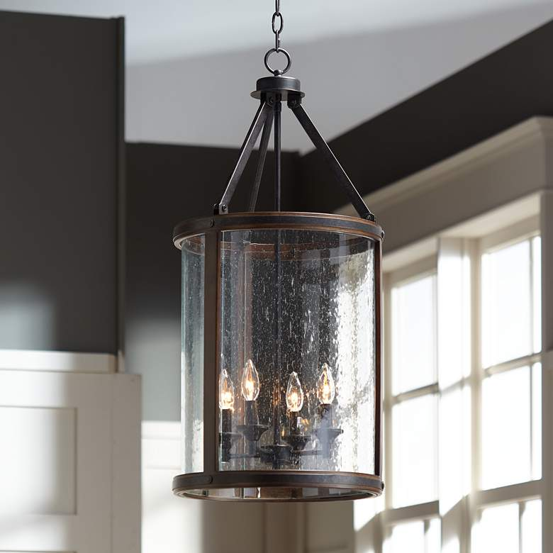 "Gorham 16"" Wide Wood and Metal 4-Light Pendant"