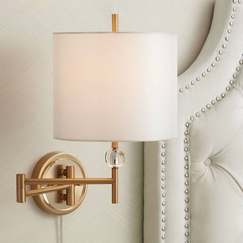 Possini Kohle Ball Swing Arm Plug-In Wall Lamp