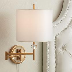 Kohle Brass and Acrylic Ball Swing Arm Plug-In Wall Lamp